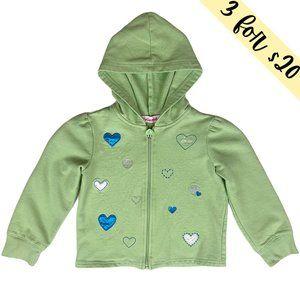 3/$20 Just Friends Green Heart Full-Zip Hoodie